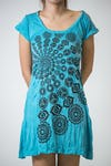 Womens Chakra Fractal Dress in Turquoise