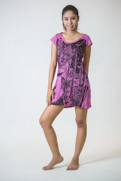 Womens Butterfly Buddha Dress in Pink