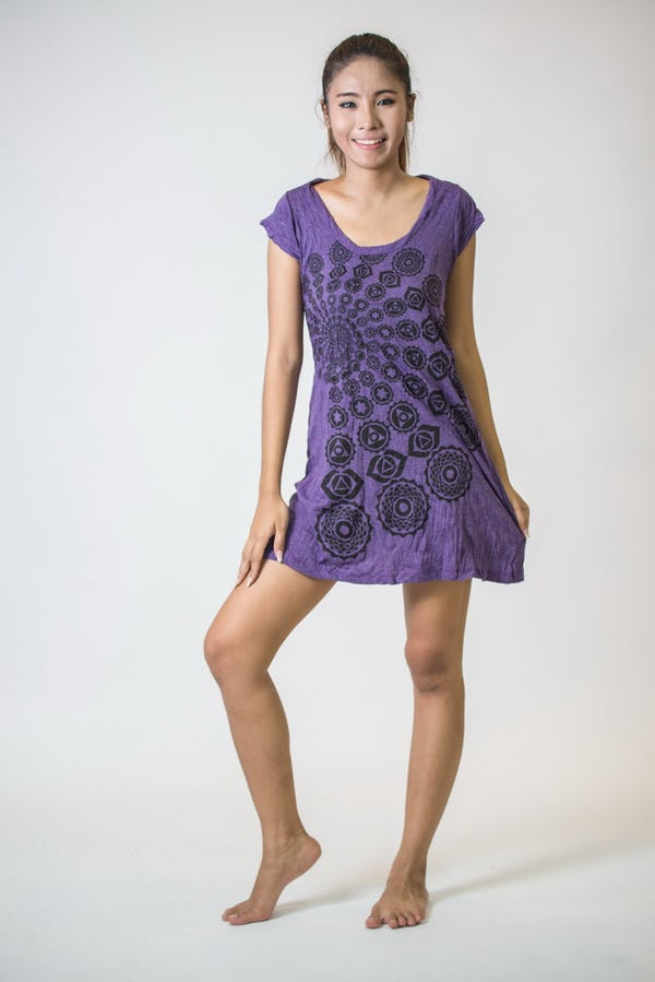 Sure Design Womens Chakra Fractal Dress Purple
