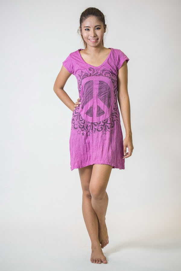 Womens Peace Sign Dress in Pink