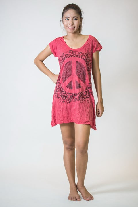 Sure Design Womens Peace Sign Dress Red