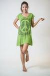 Sure Design Womens Peace Sign Dress Lime