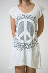 Womens Peace Sign Dress in White