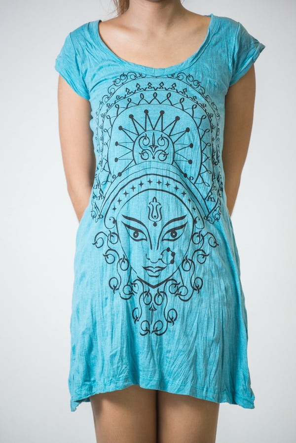Sure Design Womens Durga Kali Dress Turquoise