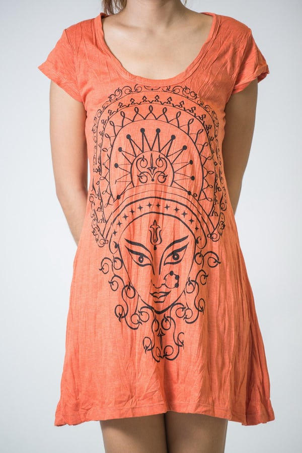 Sure Design Womens Durga Kali Dress Orange