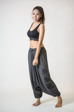 Drawstring Low Cut Harem Pants Cotton Spandex Printed OM Bloom Olive