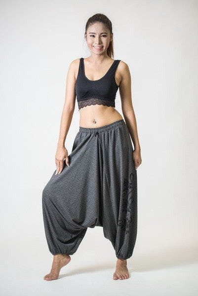 Drawstring Low Cut Harem Pants Cotton Spandex Printed 3 lotus Gray