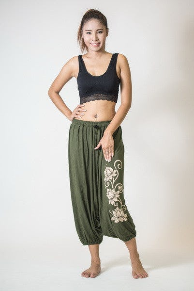 Drawstring Low Cut Harem Pants Cotton Spandex Printed 3 Lotus Olive