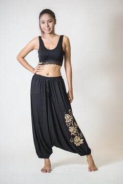 Drawstring Low Cut Harem Pants Cotton Spandex Printed Sun Black