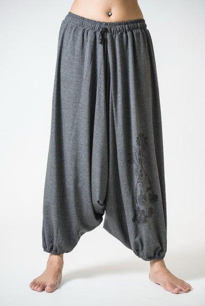 Drawstring Low Cut Harem Pants Cotton Spandex Printed Paisley Flowers Gray