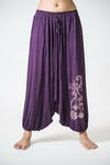 Drawstring Low Cut Harem Pants Cotton Spandex Printed Paisley Flowers Purple