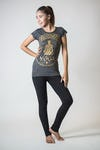 Sure Design Womens Infinitee Yoga Stamp T-Shirt Gold on Black
