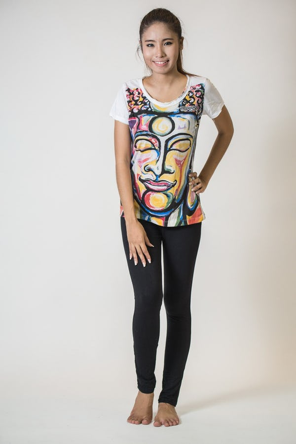 Mirror Sure Design Women's Tshirt Buddha Face White