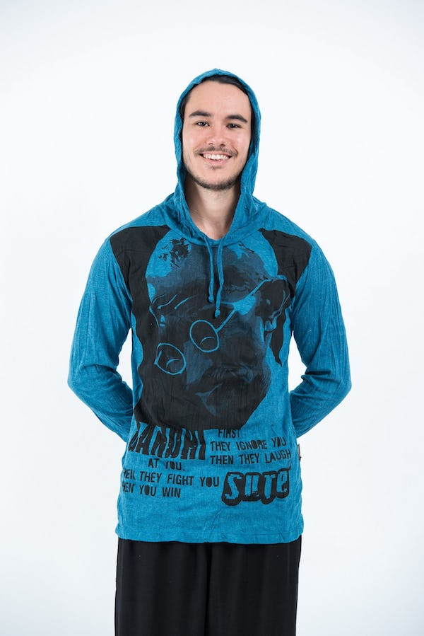 Sure Design Unisex Gandhi Hoodie Denim Blue