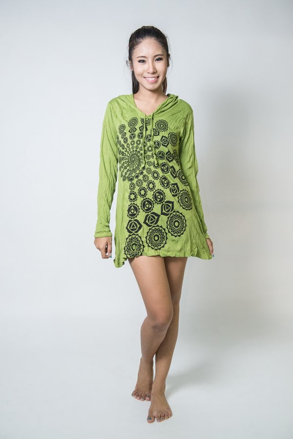 Sure Design Womens Chakra Fractal Hoodie Dress Lime