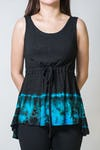 Sure Design Women Tie Dye  Tank Top Black Blue