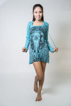 Sure Design Womens Infinitee Ohm Hoodie Dress Turquoise