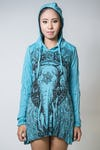 Sure Design Womens Wild Elephant Hoodie Dress Turquoise