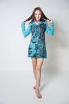 Womens Butterfly Buddha Hoodie Dress in Turquoise