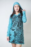 Sure Design Womens Butterfly Buddha Hoodie Dress Turquoise
