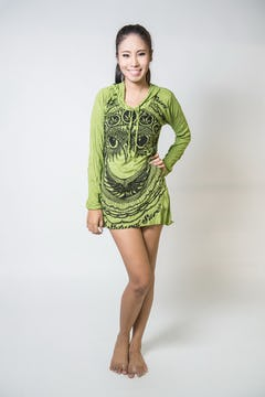 Sure Design Womens Durga Hoodie Dress Lime