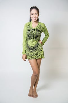 Sure Design Womens Infinitee Ohm Hoodie Dress Green