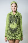 Sure Design Womens Weed Owl Hoodie Dress Lime