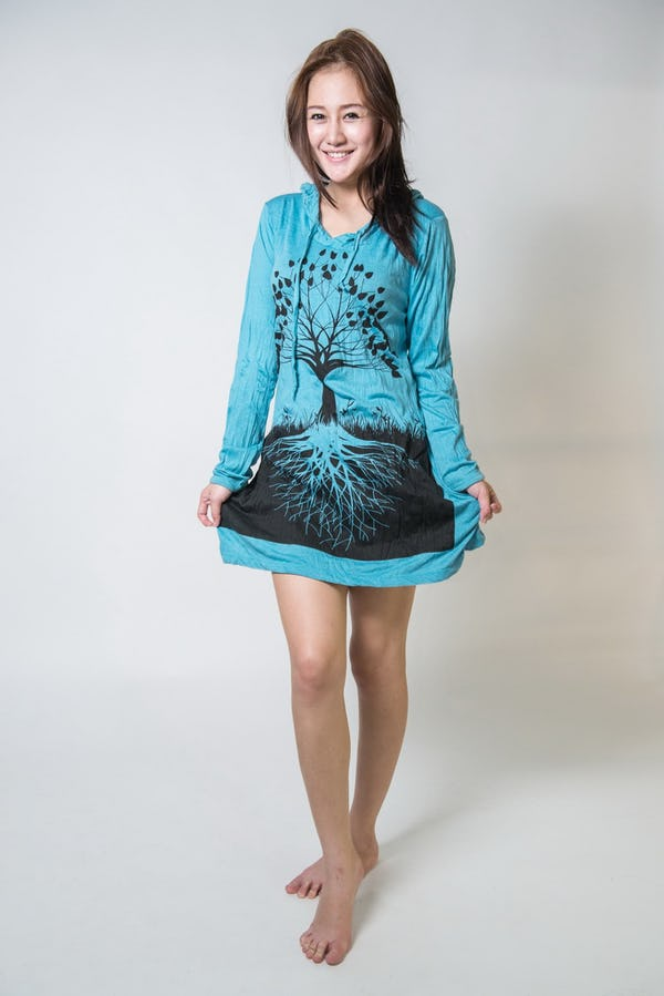 Sure Design Womens Tree Of Life Hoodie Dress Turquoise