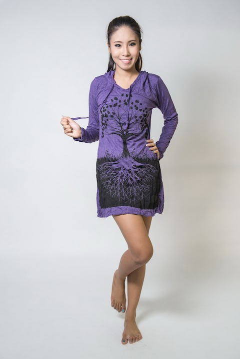 Womens Tree of Life Hoodie Dress in Purple