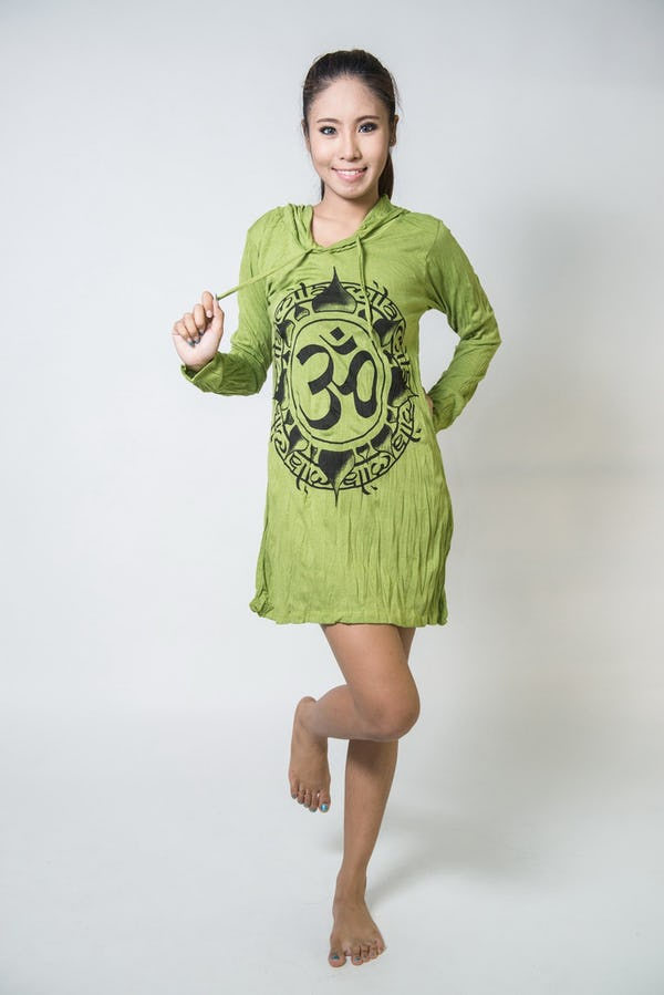 Sure Design Womens Infinitee Ohm Hoodie Dress Lime