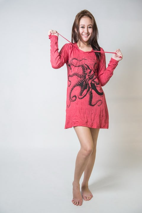 Sure Design Womens Octopus Hoodie Dress Red