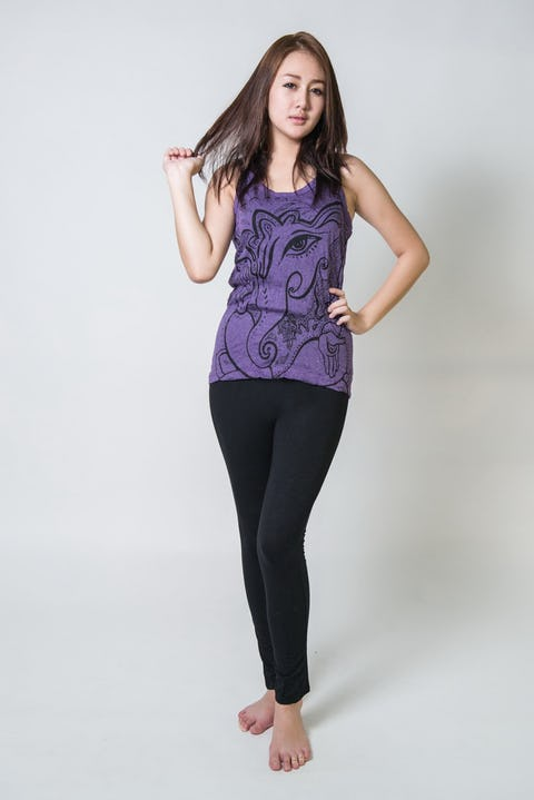 Sure Design Womens Cute Ganesh Tank Top Purple