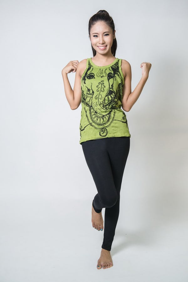 Sure Design Womens Big Face Ganesh Tank Top Lime