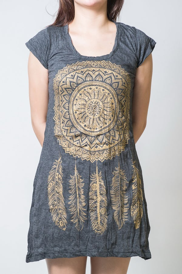 Sure Design Womens Dreamcatcher Dress Gold on Black