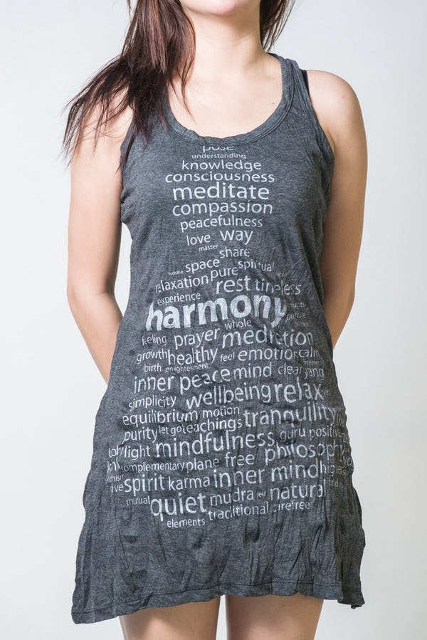 Sure Design Womens Harmony Tank Dress Silver on Black