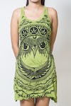 Sure Design Womens Weed Owl Tank Dress Lime