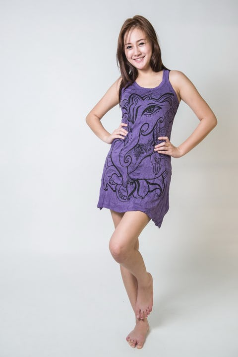 Sure Design Womens Tank Dress Cute Ganesha Purple