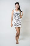 Womens Cute Ganesh Tank Dress in White