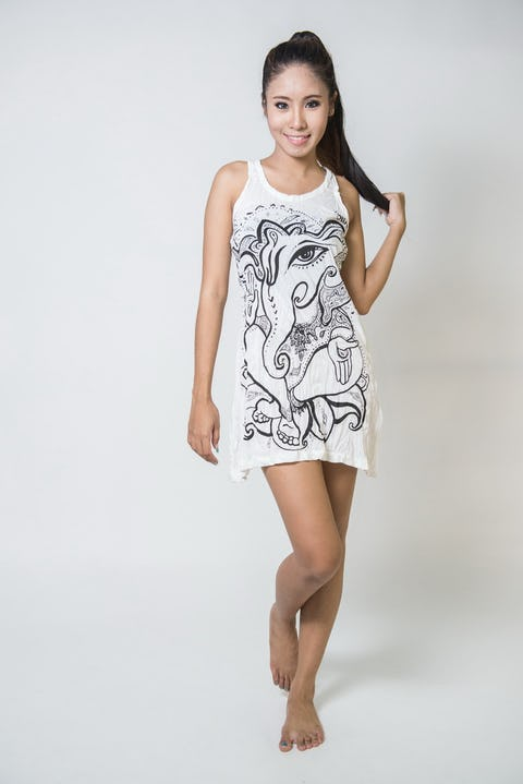 Sure Design Womens Tank Dress Cute Ganesha White
