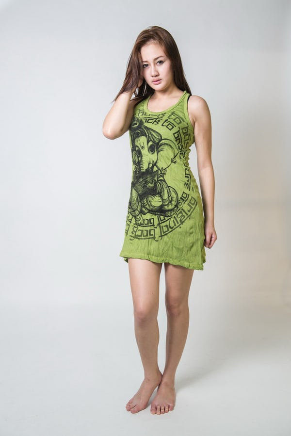 Sure Design Womens Baby Ganesh Tank Dress Lime
