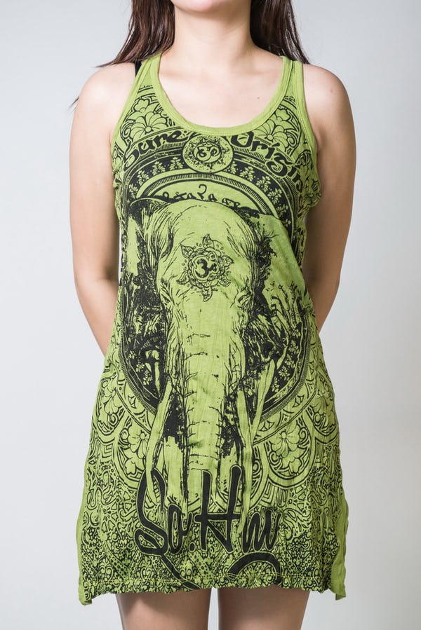 Sure Design Womens Wild Elephant Tank Dress Lime