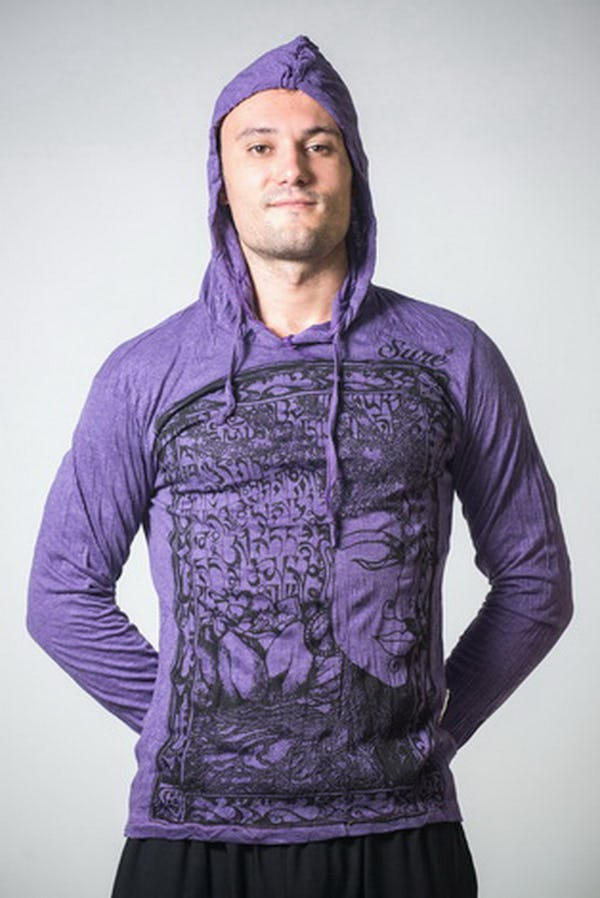 Sure Design Unisex Sanskrit Buddha Hoodie Purple