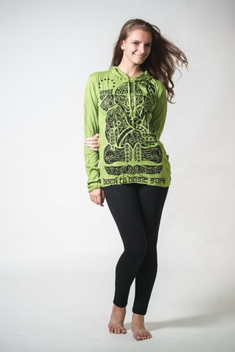 Sure Design Unisex Tattoo Ganesh Hoodie Lime
