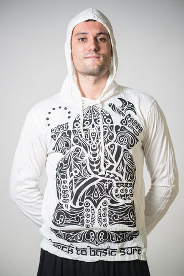 Sure Design Unisex Tattoo Ganesh Hoodie White