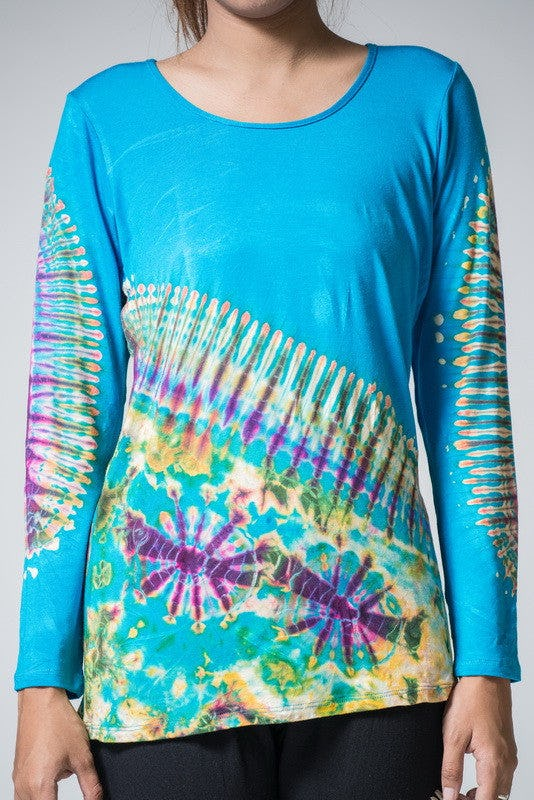 Sure Design Womens Tie Dye Cotton Long Sleeve Shirts Blue