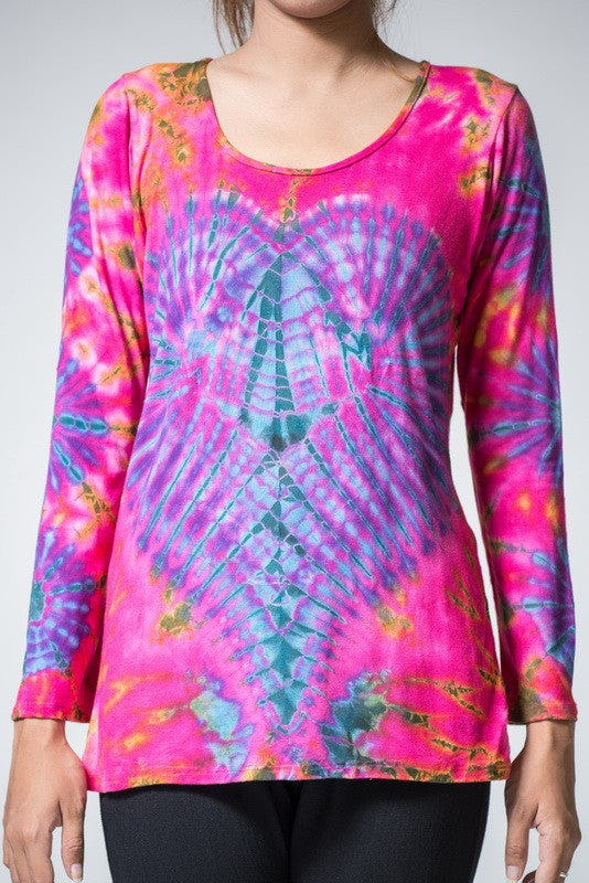 Sure Design Womens Tie Dye Cotton Long Sleeve Shirts Red