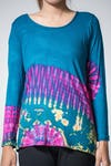 Sure Design Womens Tie Dye Cotton Long Sleeve Shirts Blue Red
