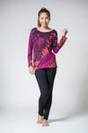 Sure Design Womens Tie Dye Cotton Long Sleeve Shirts Red Brown