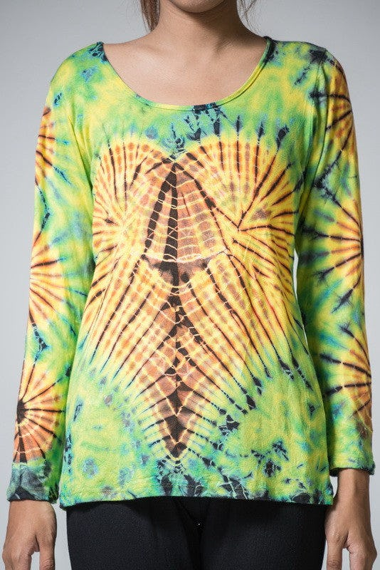 Sure Design Womens Tie Dye Cotton Long Sleeve Shirts Green