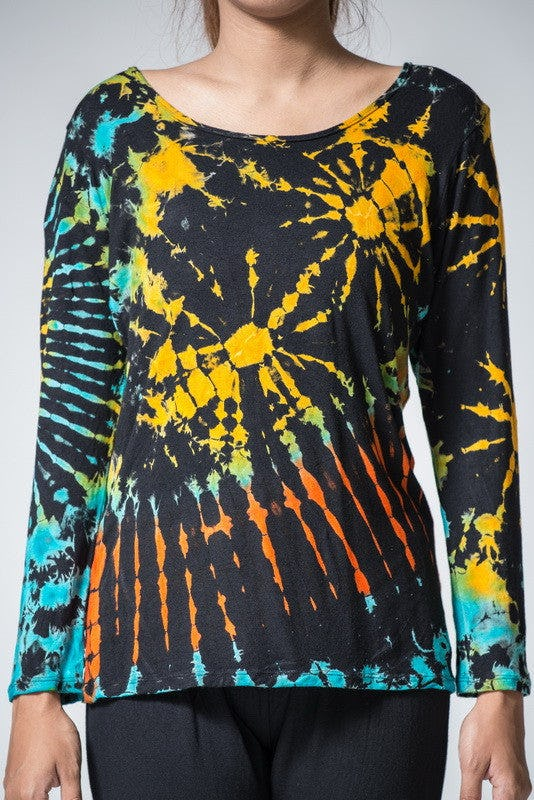 Sure Design Womens Tie Dye Cotton Long Sleeve Shirts Black yellow